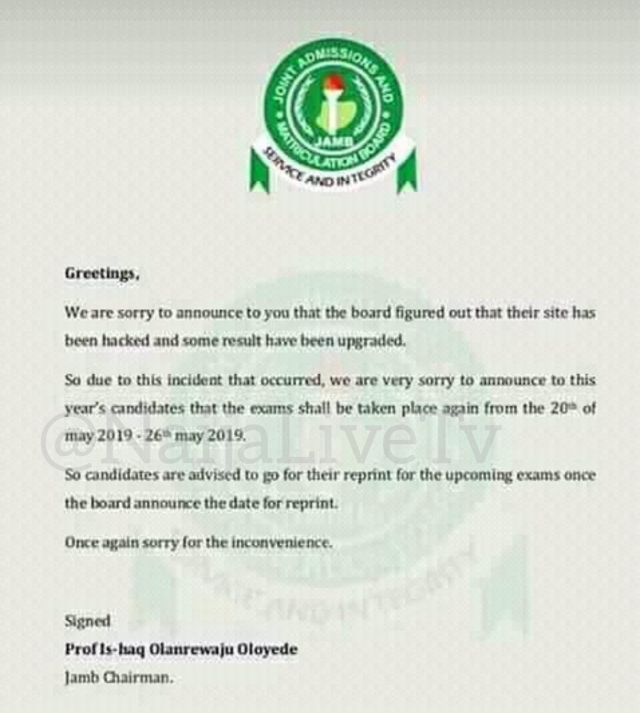"""Our Website has been Hacked and Some Results Upgraded, """"Our Website has been Hacked and Some Results Upgraded"""" JAMB Cries-out ….Orders for Fresh Exam May 26th May"""