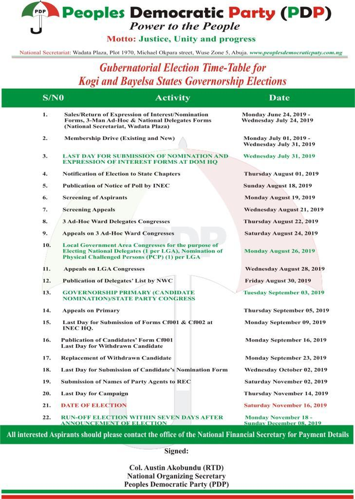 PDP Released Time Table for Bayelsa and Kogi State Gubernatorial Elections