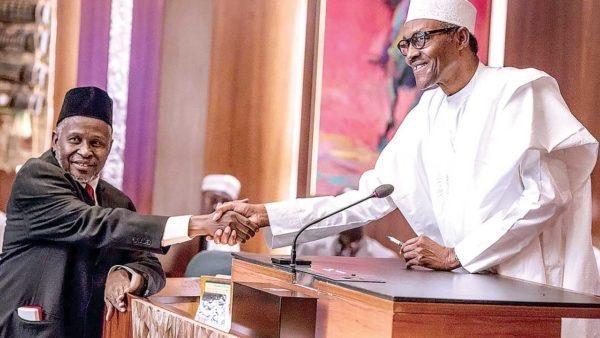 Justice Tanko Muhammad and President Buhari
