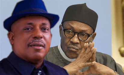 National Chairman of the Peoples Democratic Party (PDP), Prince Uche Secondus and President Muhammadu Buhari