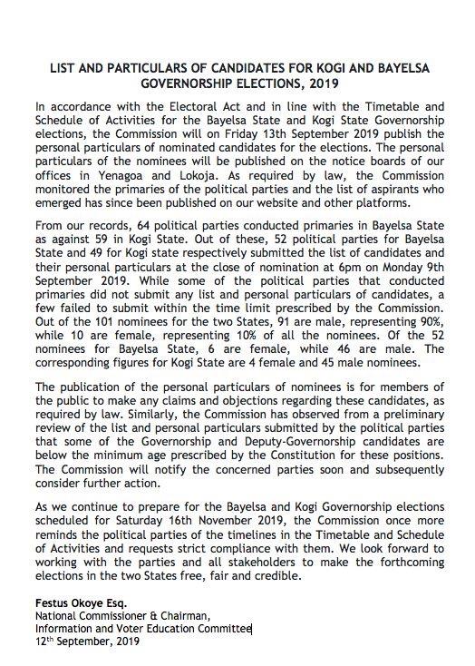 INEC Publish names, particulars of candidates for Kogi, Bayelsa polls